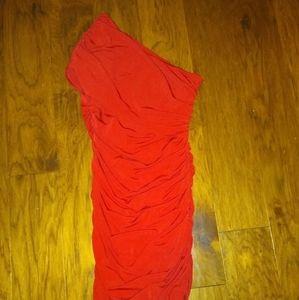 One shoulder red short length dress